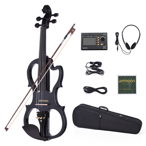 Ammoon VE-201 Violino Full Size 4/4 in legno massello Silent Electric Violin Body Body Body Ebony Picchetti dita con accessori per violin