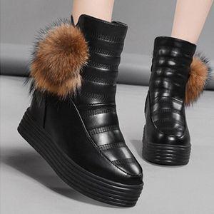 Rimocy Chunky Tacones escondidos Zapatos de plataforma Mujeres Negro Impermeable Cuero Grueso Piel Tobillo Botas Mujer No resbalón Zapatos de Mujer V6DS #