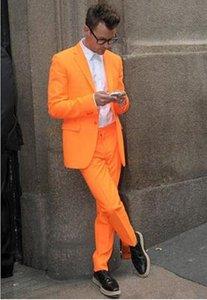 Bel orange hommes costume classique homme classique talk pata tassedos garniture ajustement satiné une touche satin a culminé pic room wedding costumes deux pièces