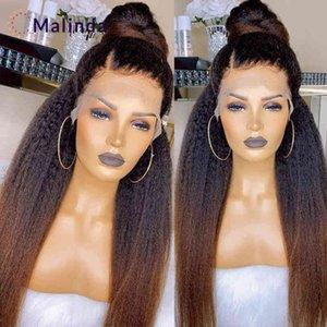 1b 30 Honey Blonde s For Women Yaki Hu Ombre Kinky Straight 13x6 Lace Front Wig Brazilian Hair