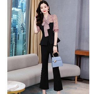2021 Neue Sommer Plus Größe Frauen Gedruckt Patchwork V-Ausschnitt Bluse Tops mit Bowknot + Langer Hose 2 Stück Set Weibliche Outfits Z101