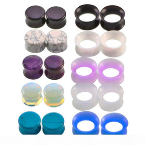 10 Pair Nature Stone Ear Plugs Silicone Tunnels Double Flare Gauges Ear Stretcher Earlet Expanders Body Piercing Jewelry 6-16mm Mix Colors