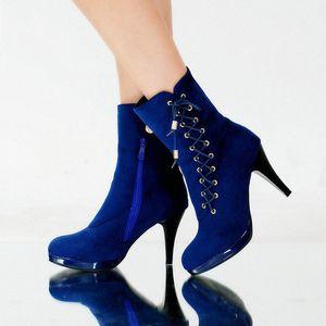 Botas de tacones altos de Epher Lace Up Boots de cuero con cremallera Bloque de tacón de talón C3KY #