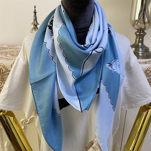 New style women's square scarves good quality 100% twill silk material pint letters pattern size 110cm - 110cm