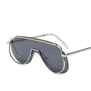Модные негабаритные Один кусок Солнцезащитные очки Женщины 2021 Ретро Большой Рамка Солнцезащитные Очки Мужские Винтажные Металлические Океанские оттенки UV400