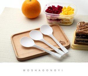 Spoons Dessert Spoon Thicken Plastic Disposable Cake Yogurt Fast Baking Supplies Tableware Ice Cream Big Head 100Pcs