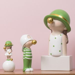 Artlovin Estilo de estilo nórdico Figurines Modelo de niños Soplando Burbuja Estatua de goma para sala de estar Decoración moderna Decoración del hogar C0220