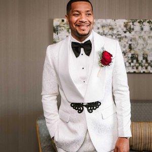 الأبيض قطعتين الزفاف البدلات الرسمية زر واحد الإغاثة رجل حفلة موسيقية دعوى مخصصة الرجل سترة والسراويل