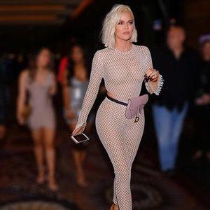Funkelnder Body-Bodysuit Khloe Kardashian inspiriert Sehen Sie durch Taille Ausschnitt Ösen Haut eng Mesh Volles Fischnetz Bodystocking Drop Shipping