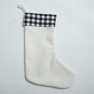 Süblimasyon Buffalo Ekose Noel Decoratio Çorap Boş Noel Şeker Çorap Hediye Santa Çoraplar Noel Ağacı Oranment Süslemeleri B3