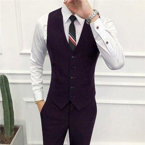 Men's Vests ( Vest + Pants ) Business Professional Tooling Groom Wedding Dress Host Suit And Solid Color