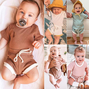 KT INS 7 Colors Baby Kids Little Girls Boys Knitted Cotton Suits Tops Straps Shorts 2Pieces Summer Children Girls Clothing Sets Outfits