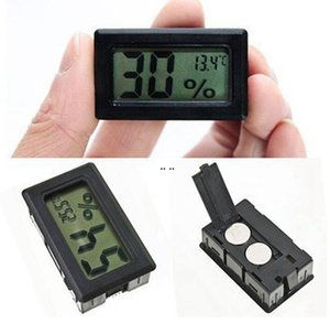 Black White Mini Digital LCD Environment Thermometer Hygrometer Humidity Temperature Meter In room Refrigerator Sea Shipping DHE4800