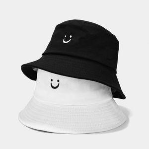 Sorridente faccia secchio cappello nero harajuku panama benna cappello da donna uomini visiera pescatore pescatore bob hip hop piatto gorro zz-462