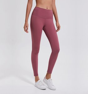 Naked Color Women Girls Long Yoga Pants Solid Color Sports Gym Wear Leggings High Waist Elastic Fitness Lady Overall Tights02