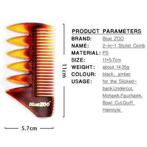 Hair Brushes 2 In 1 Short Dual Side Tooth Detangling Curly Comb Retro Back Head Styling Beard Oil Men Hairdressing Wide Teeth