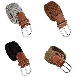Men Leather Braided Elastic Stretch Metal Buckle Belt Waistband Dark khaki