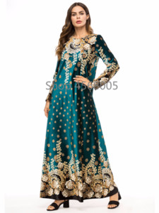 Middle East Dubai Muslim Arab Long Robe Fashion Gold Velvet Printing Abaya Gowns Ramadan Long Sleeved Maxi Dress Paryer Clothing