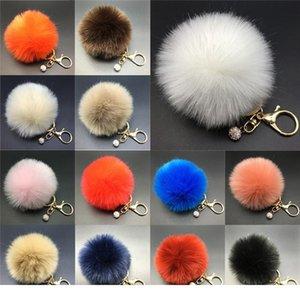 12 가지 색상 8cm 핸드백 토끼 귀여운 가방 모조리 빈 솜털 토끼 모피 POM POM 공 키 체인 키 세련된 QYLAJR