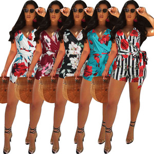 10 colors Hot selling 2021 New Women Jumpsuit Designer V-neck classic Printed Onesies sleeveless shorts Slim Rompers Fashion Casual Clothing