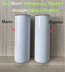 Matte Sublimation Tumbler 20oz Matte STRAIGHT Skinny Tumbler STRAIGHT Cup Stainless Steel Matte Tumbler Beer Coffee Mugs Fast Shipping