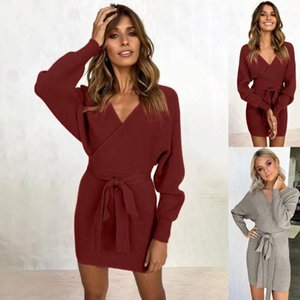 Women V Neck Sexy Dress Solid Party Dress Elegant Female Casual Fashion Long Sleeve Sexy Hip Wrap Warm Slim robe