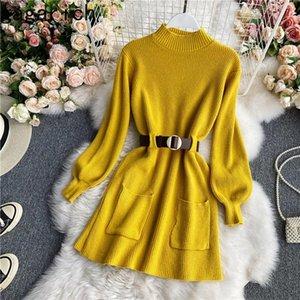 Gagarich Elegante Frauen Strick Kleid Koreaner Stil Pullover Herbst Winter Neue MIDI Dicke Solid Office Lady Vestidos Warme Tragen