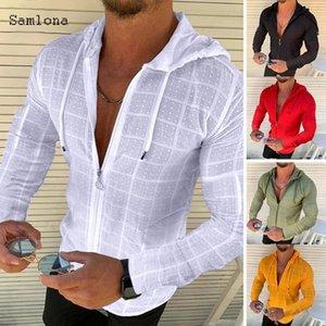 Men's T-Shirts Fashion Long Short sleeved Hoodie Zipper T shirt Men clothing Summer Solid color Casual Plaid print Open Stitch Thin T shirts