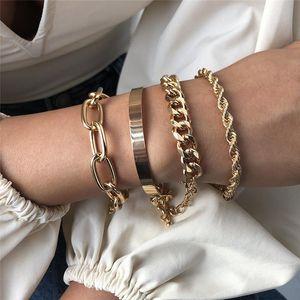 4Pcs Set Hip Hop Bracelet Bangles For Women Men Chunky Thick Cuban Bracelets Punk Vintage Silver Gold Twisted Rope Chain Bracelet