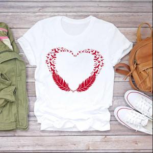 Women Feather Bird Cartoon Love Casual Fashion Clothes Lady T shirts Top Womens T Shirt Ladies Graphic Female Tee T Shirt