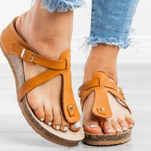Summer Women Flat Sandals 2020 Solid Buckle Ladies Slides Comfortable Home Beach Slip On Shoes Plus Female Slippers Q0224