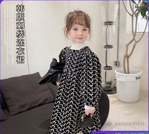 Girls floral embroidery dresses kids square collar long sleeve pleated dress autumn children princess clothes Q2493
