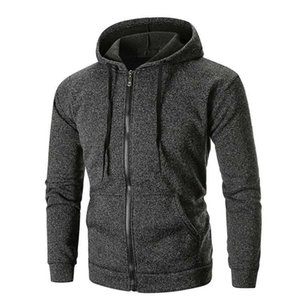 Mens Fleece Jacket Men Long Sleeve Solid Hoodie Hooded Winter Jacket Men Top Tee Outwear Windbreaker Bomber and Coat