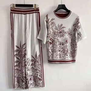 512 2021 Summer Crew Neck Two Pieces Sets Regular Short Sleeve Panelled Sweater Fashion Sweater Luxury SC
