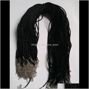 100Pcs Black Satin Silk Necklace Cord 2.0Mm 18'' 20'' 22'' 24'' With 2'' Extension Chain Lead&Nickel Tgvx6 Opkcg