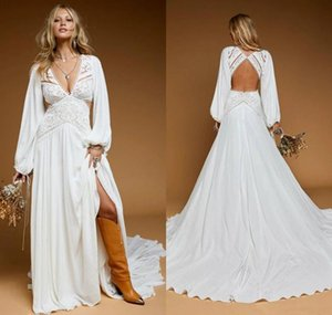 Bohemian A Line Wedding Dress 2021 Rustic Country Sexy Deep V Neck Long Sleeves Sweep Train Beach Bridal Gowns Lace Backless Vestido De Novia