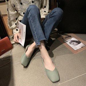 Einzelne Schuhe 2020 Sommermodelle Wild Square Kopf Abend Abend Wind Flat Damen Schuhe Weiche Bodenerbsen Große Größe Orthopädische Schuhe W T8OC #