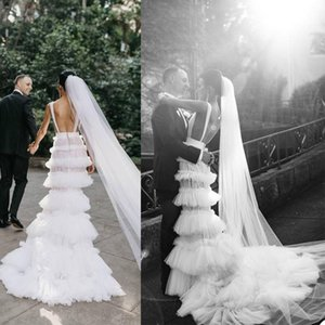 Summer A Line Wedding Dresses Cascading Ruffles V Neck Tiered Skirts Country Bridal Gowns Sexy Illusion Wedding Robe