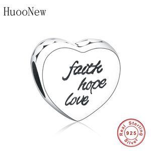 Huoonew Fit Pandora Charm Pulsera Brazalete 925 Letra de plata esterlina Fe Love Hope Heart Heart Bead para hacer Berloque DIY Q0225