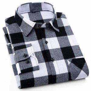 100% хлопок фланелевая мужская клетчатая рубашка Slim Fit Мужской повседневные рубашки с длинными рукавами мягкие удобные дышащие высокое качество 4xL T200801