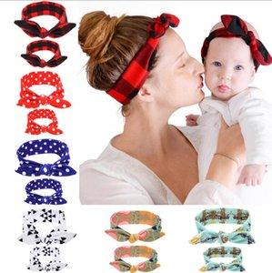 Headdress stampato Madre Bambino Capelli Capelli Genitore Genitore Bambino Coniglio Ear FaccOband Bambino Fascia 186 T2