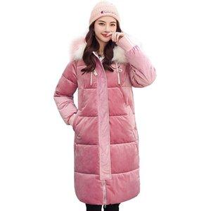 Jaqueta de inverno tyjtjy para mulheres moda ouro veludo algodão longa seção 2021 novo parka solto pão acolchoado casaco quente casaco quente