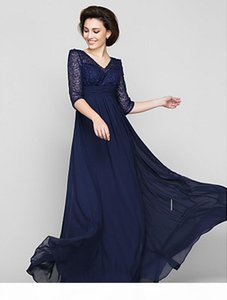 New Free Shipping Dark Navy V-neck A-line Floor-length Half Sleeve Lace and Chiffon Mother of the Bride Dress
