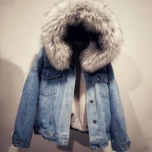Parkas Casual Womens Vêtements Femmes Hiver Designer Couvertures Mode Capuche Jean Vestes Fourrure Épaissie Épaissie Vêtements d'extérieur