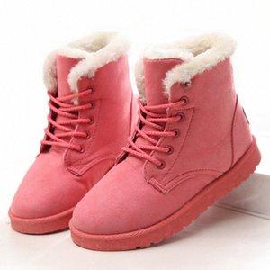Женские ботинки 2019 зимние снежные лодыжки плоские женщины сапоги зима теплые плюшевые кружевы теплые снежные ботинки высокого качества I5TE #