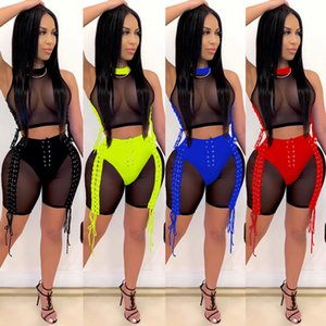 summer Women 2 piece set New Fashion 2021 Fashion Two Piece Outfits Nightclub Women's Wear Perspective Ribbon Bandage Mesh Suit