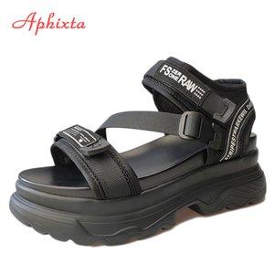 Aphixta große größe 43 luxus designer plattform frauen sandalen schwarze chunky sandal sport 7cm wedge schuhe für frau sommer schuhe 210308