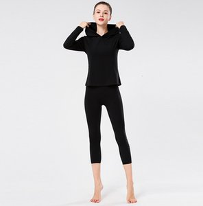 Lulu women's new autumn and winter sports yoga fitness running outdoor travel windproof warm hooded long sleeve T-shirt