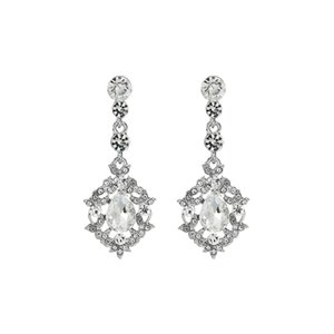 Fashion Water Drop Flower Long Dangle Earrings Women Wedding Jewelry Bridal Bride Bridesmaids Crystal Drop Earrings JCC088