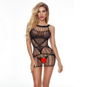 JSY Sexy Lencería New Transparent Uniform Femen Women's Pesca de una pieza NET Nightdress Traje